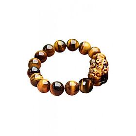 Vòng đeo tay đá nâu vàng gắn tỳ hưu phong thủy Tâm Thành Phát