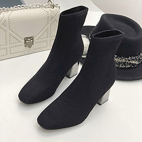 IELGY Plus velvet Martin boots women's warm stretch knitted face was thin high heel 7cm short boots