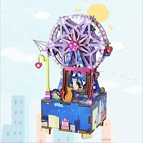 Đồ chơi lắp ráp gỗ 3D Mô hình Hộp nhạc Vòng đu Quay Ferris Wheel Music Box
