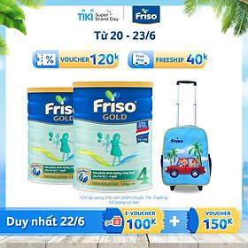 Bộ 2 Hộp Sữa Bột Friso Gold 4 Dành Cho Trẻ Từ 2 - 6 Tuổi 1400g  + Vali Tay Kéo Cho Bé