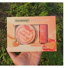 Bộ Trang Điểm 2In1 Peach Make Up Set Của Kiss Beauty (gồm phấn phủ + thanh phấn má)