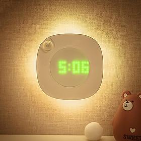 Đèn led cảm biến chuyển động hồng ngoại có hiển thị đồng hồ cao cấp - Hàng nhập khẩu