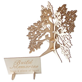Wooden Tree Shape Wedding Guest Book Tabletop Message Pad