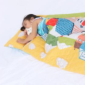 Bộ Nệm Ngủ Cho Bé ( Nệm, Mền, Gối) Vải Cotton Satin Họa Tiết Ngôi Nhà