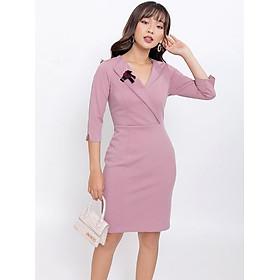 Váy đầm công sở thời trang Eden cổ vest phối phụ kiện. Kiểu dáng sang trọng. Chất liệu mềm mại, co giãn tốt - D401