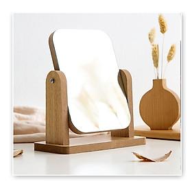 Gương trang điểm cao cấp chất liệu gỗ ép, điều chỉnh góc nhìn 360 độ loại lớn