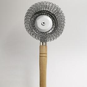 BỘ 3 dụng cụ cọ rửa xoong nồi có tay cầm bằng gỗ