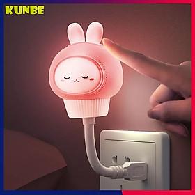 Đèn Ngủ USB Hình Thỏ, Gấu KUNBE Ngộ Nghĩnh - Tặng Dây Cuốn Thu Gọn Cáp Sạc, Tai Nghe
