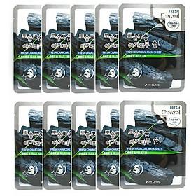 [BẢN MỚI] Combo 10 miếng Mặt Nạ Dưỡng Da Than Hoạt Tính 3w Clinic Charcoal Fresh Mask Sheet 23ml x 10