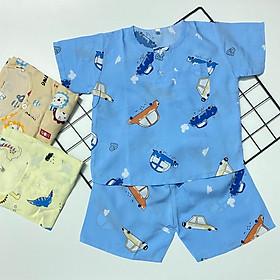 Set 3 bộ quần áo bé trai cộc tay mùa hè, chất vải tôn, lanh 2 da mềm, mịn, thoáng mát