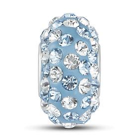 Hình đại diện sản phẩm Hạt charm DIY PNJSilver hình dẹt tròn màu xanh đính đá 14396.000-BO