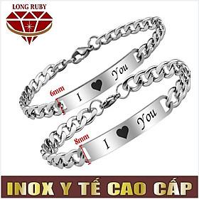 LẮC CẶP Ý NGHĨA   LẮC TAY CẶP INOX Chữ I LOVE YOU