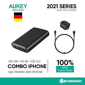 Combo Sạc Nhanh Dành Cho iPhone 12 Series AUKEY | Cốc Sạc 20W PA-B1, Cáp C-Lighnting 20W CB-CL1, Pin 15000mAh PD + QC3 PB-Y39 - Hàng Chính Hãng