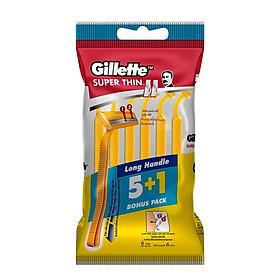 Dao Cạo Râu Gillette Cán Vàng Super Thin Ii 3 Gói Bộ 5 Cây Tặng 1