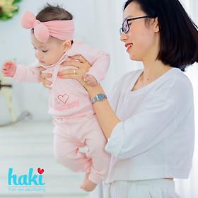 Bộ quần áo dài tay raglan cài chéo Melange Cotton cao cấp cho bé Haki BC005