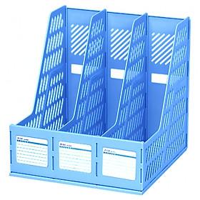 Khay Tài Liệu Nhựa 3 Ngăn Deli 9845 - Mẫu 2 - Màu Xanh