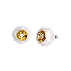 Bông Tai Galatea Jewelry Hoa Sứ Plumeria DIP-106.05EYW - Trắng