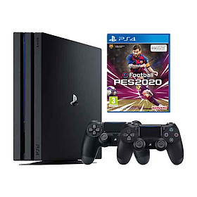 Bộ Máy Playstation 4  Pro Model Cuh 7218b Kèm Điã Game Pes 2020 - 2 Tay Cầm - Hàng Chính Hãng