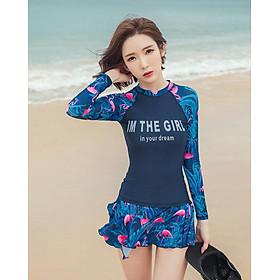 Bộ đồ bơi cho nữ dài tay hai mảnh chân váy liền quần size từ 40kg đến 64kg