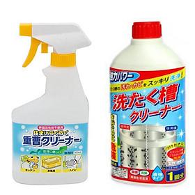 Combo chai xịt baking soda 400ml Rocket + chai nước tẩy lồng máy giặt 400ml nội địa Nhật Bản