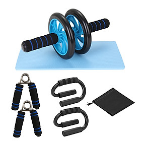 AB Wheel Roller Kit Spring Exerciser Abdominal Press Wheel Pro with Push-UP Bar Knee Pad Portable Equipment for