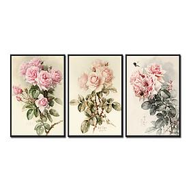 Bộ 3 tranh treo tường trên nền canvas hoa hồng lãng mạng trang trí phòng khách và phòng ngủ nhiều kích cỡ