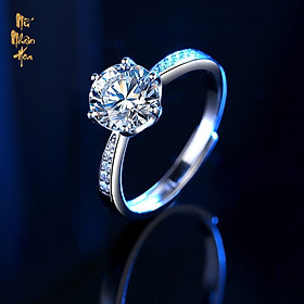 NS001 Nhẫn bạc đính đá Moissanite một carat NS001