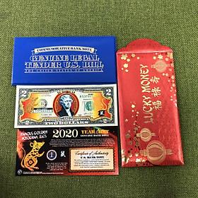 Bao lì xì Tờ 2 Đô La Mỹ hình Con Chuột mạ vàng 2020