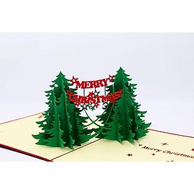 Thiệp 3D Giáng Sinh - Cây Thông Đôi Tinh Xảo - NOL10
