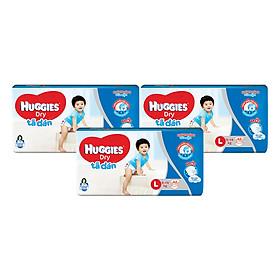 Combo 3 Gói Tã Dán Huggies Dry Gói Đại L42 (42 Miếng) - Bao Bì Mới
