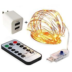 Dây đèn nháy led đom đóm trang trí dùng điện 220v cắm điện lưới vàng nắng dài 5 M 10 M có điều khiển từ xa decor phòng, noel, giáng sinh, lễ tết- Chính hãng DEHA