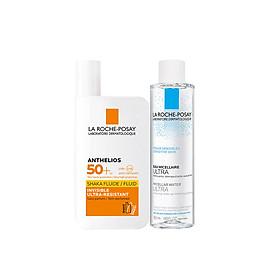 Bộ chống nắng không nhờn rít La Roche-Posay Anthelios Shaka Fluid 50ml & nước tẩy trang cho da nhạy cảm 50ml