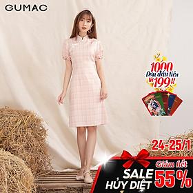 Đầm váy nữ DA10129 GUMAC thiết kế  cổ tàu tay ngắn
