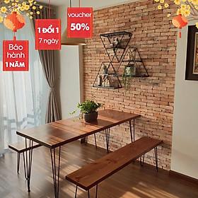 Bàn làm việc bằng gỗ tự nhiên nâu sẫm/ Bàn ăn màu rustic gia đình nội thất phòng khách