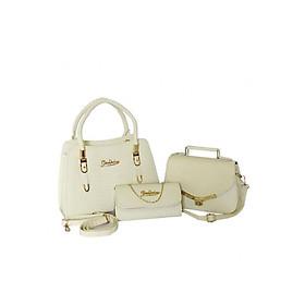 Hình đại diện sản phẩm Bộ 3 túi xách và ví quai chuông nữ da vân cá sấu H49Tr - Màu trắng kem (Gồm 2 túi và 1 ví)