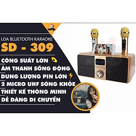 Loa karaoke bluetooth SD 309 - Loa mắt cú cao cấp nhất - Tặng kèm 2 micro không dây có màn hình LCD - Sạc pin cho micro ngay trên loa - Chỉnh bass treble echo ngay trên micro - Loa xách tay du lịch bass đôi cực chất - Màu ngẫu nhiên - Hàng chính hãng