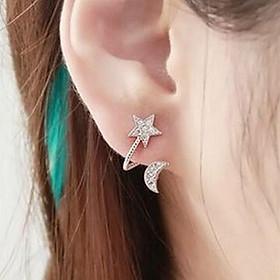 Bông tai trăng sao khuyên tai nữ phong cách Hàn Quốc
