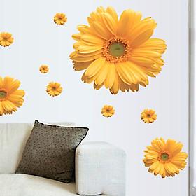 decal dán tường hoa đồng tiền vàng
