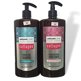 Bộ dầu gội xả cho tóc hư tổn ARGANICARE Collagen Reconstructuring Shampoo & Conditioner For Thin, Damaged & Brittle Hair 750ml-0
