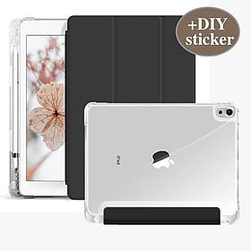 Bao Da Trong Suốt Có Khe Cắm Bút Cho iPad air3 Pro 10.5 2020 iPad Air 4 10.9 iPad Pro 11 iPad mini5 mini4 iPad 8gen 7Gen 10.2 2019 air1 air2 6th 5th 9.7 2017
