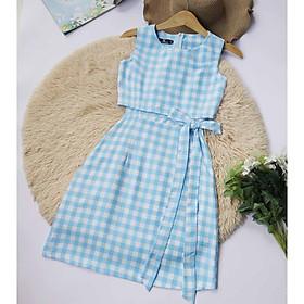 Đầm nữ caro xanh thiết kế Năng Động Thoải Mái