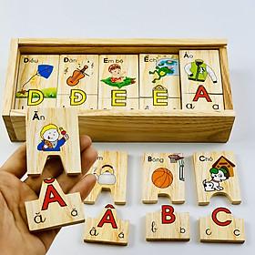Đồ chơi gỗ trí tuệ- Kích thích sự phát triển trí não cho bé -  Bộ tìm chữ cái tiếng việt Mk00184