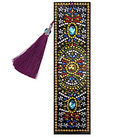 5D Special Shaped Diamond Leather Book Marker with Tassel DIY Embroidery Crafts