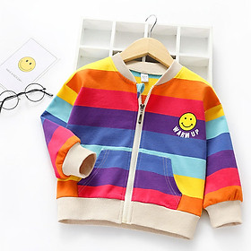 Áo khoác cho bé gái 4-10 tuổi sọc màu tươi tắn phong cách thể thao – AK010