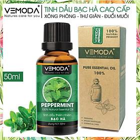 Tinh dầu Bạc hà cao cấp 50ML Peppermint. Tinh dầu xông phòng Vemoda giúp xông phòng, khử mùi, thanh lọc không khí, thư giãn, kháng khuẩn, giải cảm, xua đuổi côn trùng, chăm sóc răng miệng