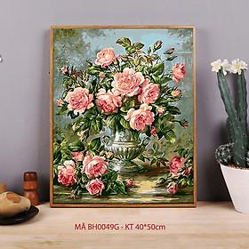 Tranh sơn dầu số hóa tự tô màu theo số - Tranh lọ hoa sơn trà cổ điển sang trọng Sơn trà hồng mã BH0049G