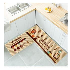 Thảm chùi chân phòng bếp (1 bộ đôi ) siêu thấm hút phong cách Hiện Đại