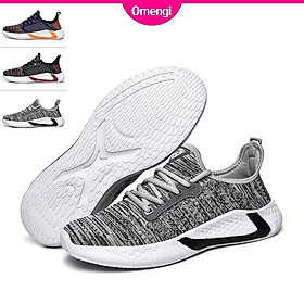 Omengi 2020 Fashion men outdoor soft breathable running sneakers casual black sport shoes