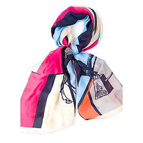 Khăn Choàng Cổ Lụa Họa Tiết Horse Phối Nhiều Màu Hồng Cánh Sen - Silk - 180x90cm - Mã KS043