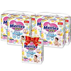 MUA 6 Tã/bỉm quần Merries size M - 58 miếng (Cho bé 6 - 11kg) - Tặng 1 gói cùng loại